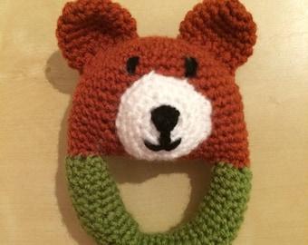 Bear Crocheted Baby Rattle