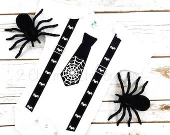 First Halloween/Halloween Bodysuit/1st Halloween/Halloween Romper/Halloween Shirt/Bat Bodysuit/Baby Bodysuit/Tie Bodysuit/Suspender Bodysuit