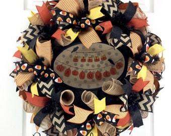 Custom Listing for Lindsay, Halloween Mesh Wreath for front door / Halloween wreath for front door / Primitive Halloween Wreath
