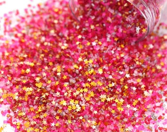 Love Sick Fancy Glitter Sugar Crystals, Pink & Red Valentine Sugar, Gold Sugar, Edible Glitter, Gold Edible Stars, Fancy Sprinkles