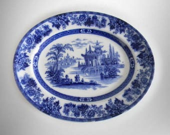 Wood and Brownfield flow blue platter with oriental scene - Madras
