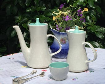 Poole Pottery Coffee Pot, Teapot, Hot Water Pot, Sugar Bowl in twin tone Ice Green and Seagull 1940s