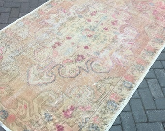 Oushak rug. Boho rug. New fashion perfect, pastel Oushak rug. Hand made. 143x232cm.--56.30x91.34inc.