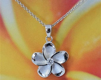 Plumeria Pendant, Sterling Silver Hawaiian Plumeria Flower With CZ Pendant Necklace with 18 inch Box Chain, N2001