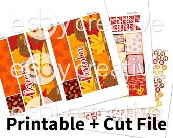November 2017 Monthly Kit - Fall Leaves - Erin Condren Monthly View Sticker Kit Printable - ECMK-008 - INSTANT DOWNLOAD