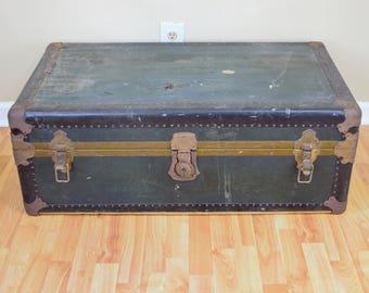 Antique Steamer Trunk - Old Style Steamer Trunk - Vintage Storage Trunk - Distressed Steamer Trunk - Leather Steamer Trunk