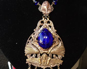 Stunning Egyptian Revival cobalt blue Scarab Pendant necklace by EBE