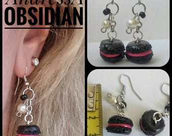 Goth Macaron earrings - Polymer Clay /Cernit /Fimo