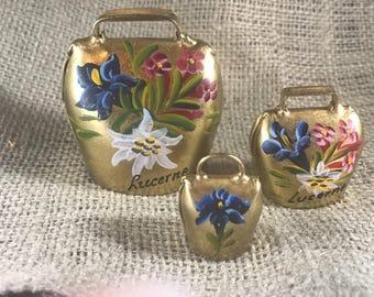 3 hand painted brass bells from Switzerland