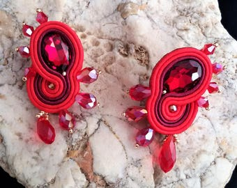 soutache earrings red  jewels, Soutache jewerly, fashion, Soutache Jewels, accessories, cabochon, crystals, beads, handmade from Italy