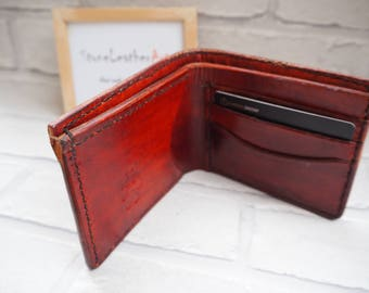 Leather Bi Fold Wallet hand made