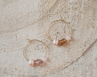 Tessa - Boho chic Freshwater pearls natural crystal quartz earrings. Crystal, natural quartz & freshwater pearl earrings