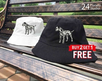 Dalmatian Dog Embroidered Bucket Hat by 24PlanetsStudio