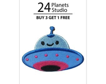 Funny Blue UFO Iron on Patch by 24PlanetsStudio