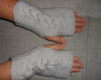fingerless gloves cable matching snood or headband