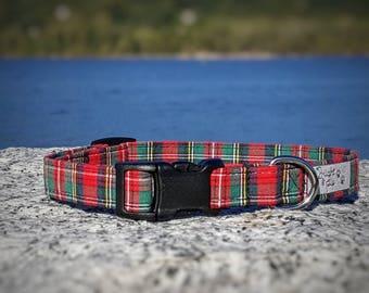 Plaid Dog Collar, Red Plaid Pet Collar, Tartan, Metal Buckle, Puppy Collar, Trendy Dog Collar, Stewart, Red and Green, Scottish