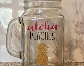 Aloha Beaches Summer Mason Jar Wine Glass
