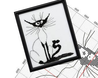 Cat cross stitch pattern Funny x stitch monochrome black cat embroidery japan Mini pattern Love my cat crazy Hand made gift сat picture PDF