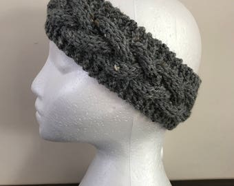 Cabled Knit Headband - Knit Adult Earwarmer - Girls Headband - Cable Headband - Knit Headband