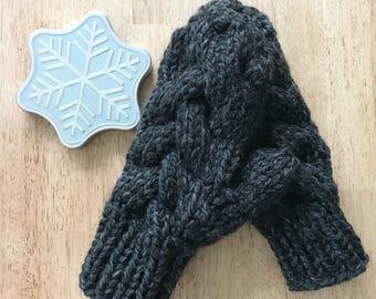 Knit Winter Mittens, Warm Winter Mittens, Chunky Knit Mittens, Cable Knit Mittens, Warm Knit Mittens, Braided Knit Mittens, Womens Mittens