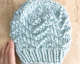 Adult Knit Toque, Adult Knit Beanie, Fitted Winter Beanie, Womens Knit Winter Hat, Chevron Hat, Fitted Knit Wool Hat, Knitted Winter Toque