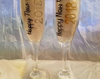 New year 2018 champagne flute