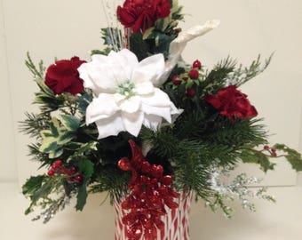 Christmas Floral Arrangement, Peppermint Vase Arrangement,Candy Cane Vase