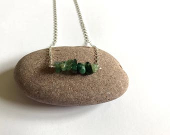 Emerald necklace, May birthstone necklace, sterling silver and emerald necklace, green gemstone necklace, green bar necklace, bar necklace