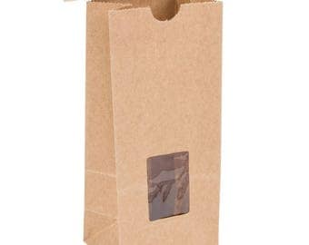 25 Ct 1/2 lb Brown Kraft Paper Cookie Bag, Kraft Paper Bag, Coffee Paper Bag, Coffee Bag, Kraft bag, Food Bag,  Kraft Paper Bag With Window