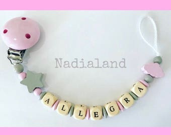 Pacifier holder with baby name / BabyGirl/ Natural wood/ Dummy clip/ Handmade/ Beaded pacifier clip/ Personalized pacifier holder/ Baby gift