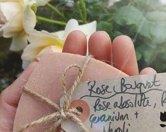 Rose Bouquet Soap, handcrafted natural cold process soap,no palm oil,aromatherapy,rose geranium,rose absolute,neroli,olive and coconut oil