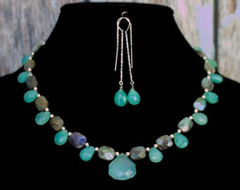 Aqua Chalcedony and Labradorite and Silver Necklace with Matching Earrings.