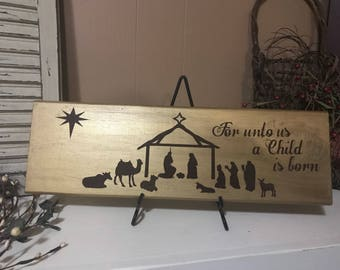 For Unto Us a Child is Born Wooden Sign-Christmas decor-Wood Signs-Religious Sign