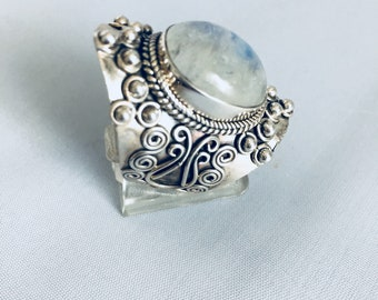 Moonstone and 925 Silver ring