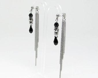 Earrings - 2 in 1 - black - Swarovski Crystal