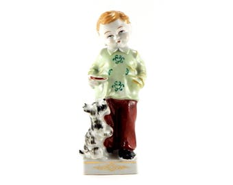 Vintage Boy Porcelain Figurine | Boy Feeding His Dog | Patsy Of Hollywood 1525 Vine Street Hollywood CA  |  Scottish Terrier | Mid Century