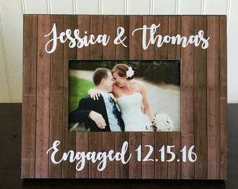 Personalized Engagement Picture Frame  // She said yes gift //  Gift for Couple // Gift for Bridal Shower // Engagement party gift