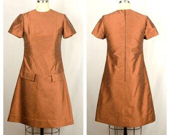 Vintage 1960s Dress / Copper Silk Drop Waist 60s Dress / Small