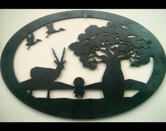Antelope & Baobab African Safari Sunset Metal Art
