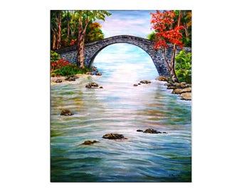 Landscape Oil painting on canvas Original painting , lanscape painting bridge, original  wall art  65x80 cm Signed by Artist N. Ferit