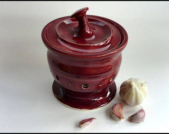 Garlic Jar, Ceramic Garlic Jar, Ceramic Garlic Pot, Garlic Pot, Pottery Garlic Pot, Garlic Keeper, Shallot Pot, Foodie Gift, Garlic Storage