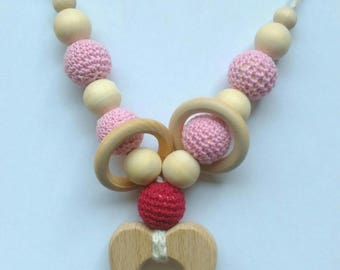 necklace, breastfeeding and Babywearing with teething rings
