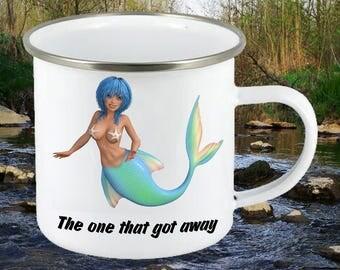 Enamel mug, Fishing mug, Anglers gift