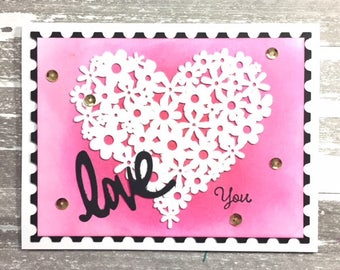 C037 - Handmade Die-cut Heart Love You Greeting Card
