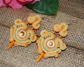 Orange earrings soutache