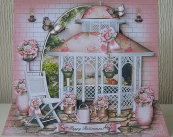 Rose Arbor Greetings Card 3D Decoupage Birthday, Retirement, Get Well, etc; Unusual Shape, Choice of Sentiment