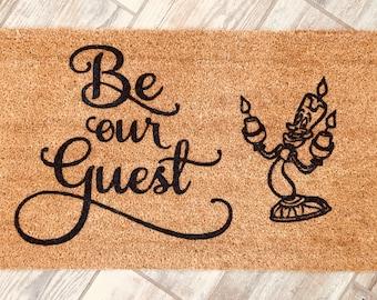 Beauty and the Beast door mat, Belle doormat, Lumiere, Disney door mat, be our guest doormat, disney doormat,Wedding gift, Disney home decor