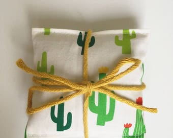 Handmade cactus print lavender bags; bundle of two.