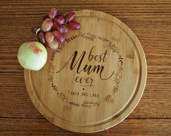 Personalised Engraved Bamboo Round Serving Board, dia 28cm, thickness 1.4cm -Gift for Mum and Grandma - Birthday gift for Mum -Best Mum ever