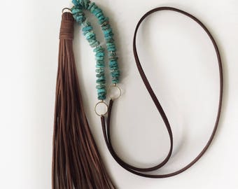December birthstone Leather tassel necklace for wife gift from husband Long Tassel necklace Raw Turquoise necklace Bold necklace Winter gift